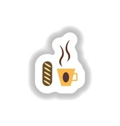 stylish paper sticker Cup of coffee and a bun vector image