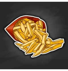 French fry color picture sticker vector