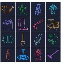 Line brightly icons gardening equipment vector