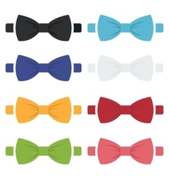 Color bow ties icons set vector