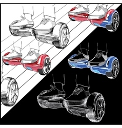 Set hoverboard two-wheeled motorized personal vector
