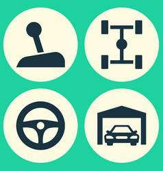 Automobile icons set collection of wheelbase vector