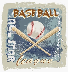 Baseball league grunge vector