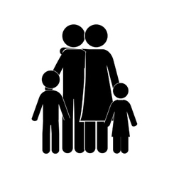 Black silhouette of family embracing vector