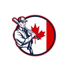 Canadian baseball batter canada flag circle vector
