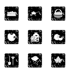 Falling leaves season icons set grunge style vector