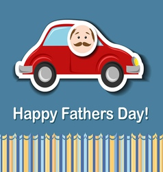 Fathers day card with cartoon car vector image vector image