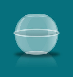 Glass ball with reflection empty transparent vector