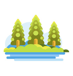 Green forest near blue river graphic vector