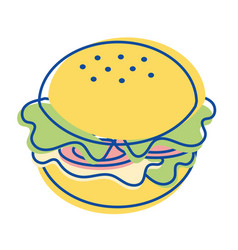 Hamburger fast food icon vector