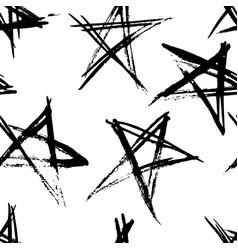 Hand drawn grunge stars seamless pattern modern vector