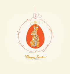 hanging easter eggs ornament with bunny card vector image