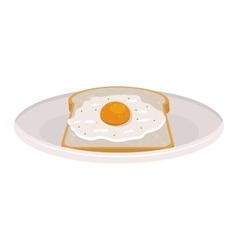 image color of dish with bread and egg vector image