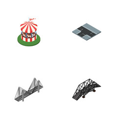 Isometric city set of expressway carousel vector