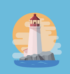 lighthouse in the sea with sunset in the evening vector image