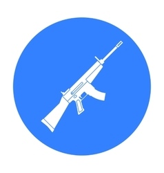 Military assault rifle icon in black style vector image
