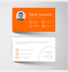 modern orange business card template with flat vector image vector image
