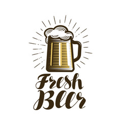 Mug of beer logo or label bar pub ale vector