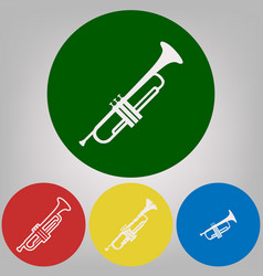 musical instrument trumpet sign 4 white vector image vector image