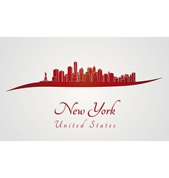New york skyline in red vector