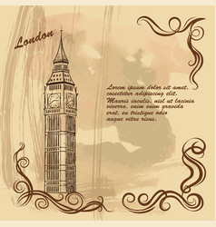 old card with london city sights big ben vector image