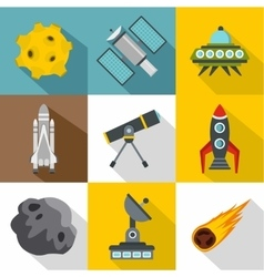 Outer space icons set flat style vector