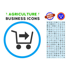 Purchase cart rounded icon with set vector