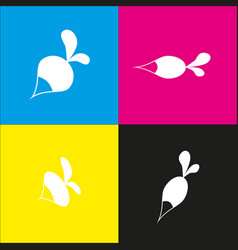 Radish simple sign white icon with vector