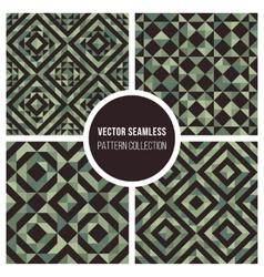 Seamless green truchet geometric pattern vector