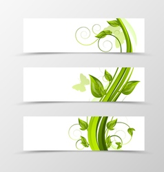 Set of header banner natural design vector