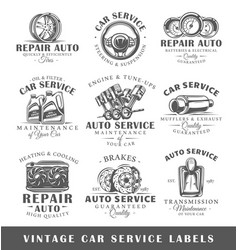 Set of vintage car service labels vector