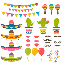 Set with traditional mexican symbols for festival vector