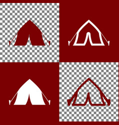 Tourist tent sign bordo and white icons vector