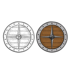 viking round shield hand drawn sketch vector image