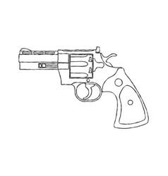 Vintage revolver gun firearm pistol vector