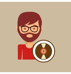 Vinyl record music man hipster vector