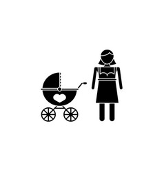 woman with pram icon vector image vector image