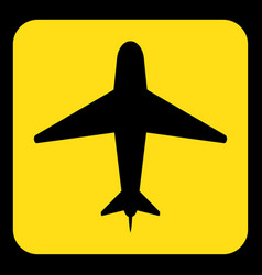 Yellow black information sign - airliner icon vector