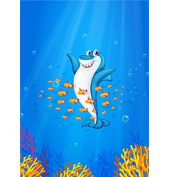 Shark and fish vector image