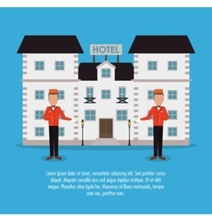 Building bellboy hotel service icon vector