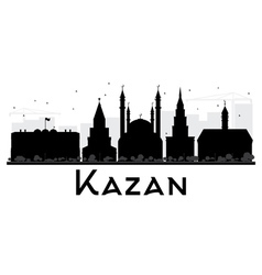 Kazan city skyline black and white silhouette vector