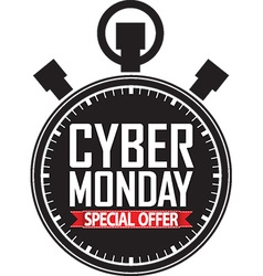 Cyber monday special offer stopwatch black icon vector
