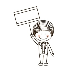 Silhouette boy holding poster with formal suit vector