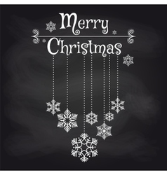 Christmas card with snowflakes on chalkboard vector image