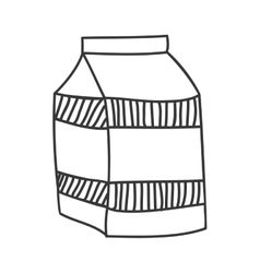 Monochrome silhouette with milk carton vector
