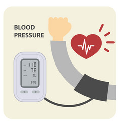 Digital electronic blood pressure monitor and hand vector