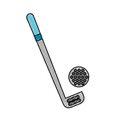 Scribble golf club and ball vector