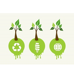Green concept tree icon set vector