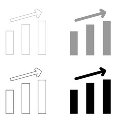 Growth chart the black and grey color set icon vector