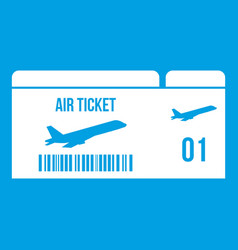 Airline boarding pass icon white vector